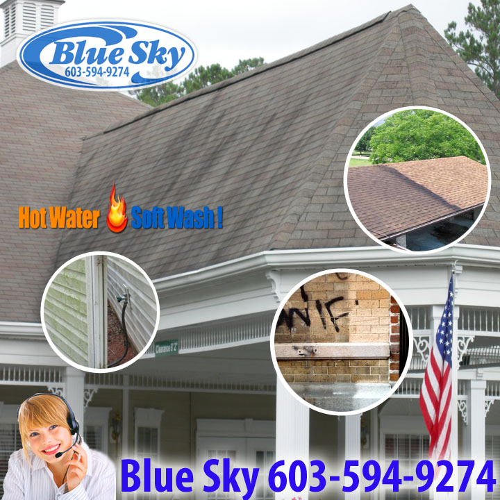 "Blue Sky Pressure Washing is your Eco Friendly company in New Hampshire & surrounding communities of Concord, Nashua, Manchester & Portsmouth area! Call Blue Sky Power Washing in Masssachusetts for a Quote for your roofing ""ugly shingles"", vinyl, asphalt, pavement, & clapboard Cleaning!"