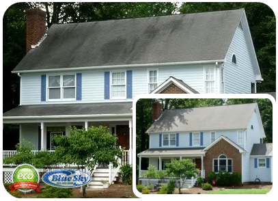 Blue Sky Pressure Washing Asphalt Roofing in Tewksbury Massachusetts& Vynl Siding in Massachusetts